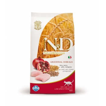 N&D Low Grain Adult Cat Pui si Rodie, 10 kg